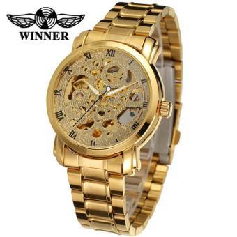'Luxury Jam Tangan Steel Watch Band Angka Romawi Berongga Transparan Otomatis Mekanis Pria Jam Tangan. '