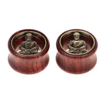 MagiDeal Rustic Buddha Kayu 8-20mm Ear Plug Tunnel Stretcher Piercing Decoration 18mm-Intl