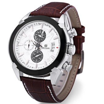MEGIR M2020 Male Quartz Watch Three Working Sub-dials Sport Wristwatch - intl