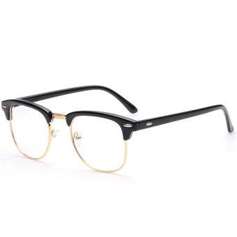 Pria Wanita Fashion Classic Setengah Bingkai Logam Rimmed Plain Clear Lensa Kacamata Dekoratif Aksesori Frame untuk