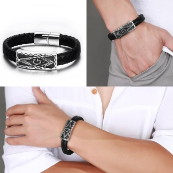Mens Dikepang Gelang Kulit Stainless Steel Masonic Freemason Gelang Bangle Di Black Silver-warna Pria