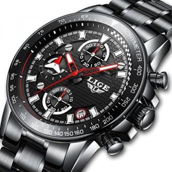Mens Dress Watches Full Steel Waterproof Sport Analog Quartz Watch Men LIGE Business Black Wristwatch -
