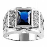 Mens Fashion 18 K Berlapis Emas Putih Sapphire Blue CZ Cincin Pernikahan USA Ukuran 8-15-Intl - 2