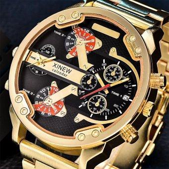 Ulamore Men's Fashion Luxury Watch Stainless Steel Sport Analog QUARTZ Mens Jam Tangan Golden-Intl
