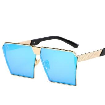 Pria   Wanita Sunglasses Square Sunglasses Cerah Warna Retro Bingkai  Besar-Bingkai Emas Ice Blue acfd89f0db