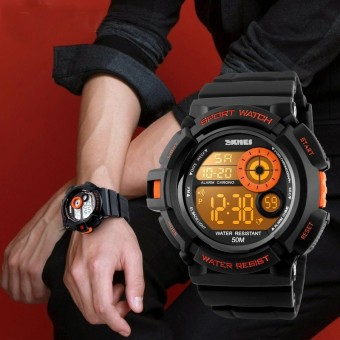 SKMEI Merek Watch Pria Sport Digital Watch LED Display Outdoor Militer Jam Tangan Shock Resistant Chronograph