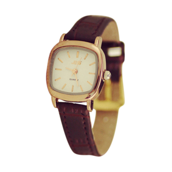 Moonar Women Square PU Leather Quartz Wrist Watch (Coffee)