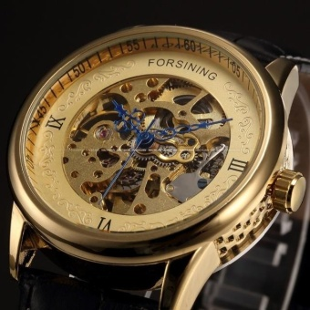 New Number Sport Design Bezel Golden Watch Mens Watches Top Brand Luxury Montre Homme Clock Men Automatic Skeleton Watch - intl
