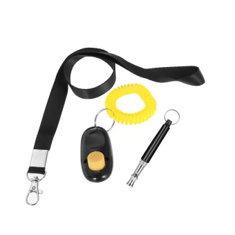 New Pet Dog Training Adjustable Whistle Ultrasonic Dog Whistle with Keychain for Dog Pet Clicker Silent Dogs Bark Control Lanyard Dog Cat Training Kit Black - intl