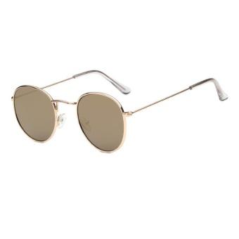 Tren Kacamata Baru Round Sunglasses Cerah Reflektif Berjemur Kacamata-emas  Bingkai Tanah Emas Film f6a12689be