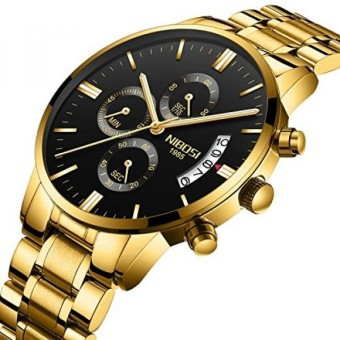 NIBOSI Mens Watches Sports Army Chronograph Waterproof Military Quartz Wristwatches For Men Luxury Golden Watch Black Color - intl