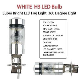 niceEshop 2 buah H3 tenaga tinggi 100 watt bohlam lampu kabut mobil truk untuk memimpin langsung