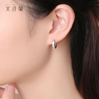 925 perak murni anting huggie wanita Korea Selatan minimalis Elegan Anting tindik modis kepribadian Berlian Pasangan