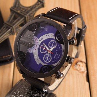 OEM Luxury Mens Analog Sport Steel Case QUARTZ Leather Wrist Watch (Biru)