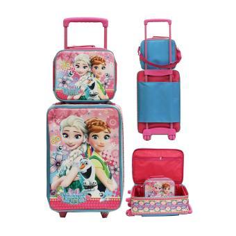 Onlan Set Koper dan Lunch Bag Anak Bahan Sponge Tahan Air Motif Karakter Anak - Pink