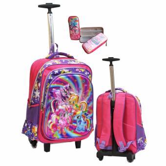 Onlan My Little Pony 5D Timbul Tas Trolley SD Gagang Samurai Stainless Import dan Kotak Pensil