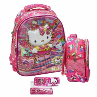 Onlan Tas Ransel Anak Sekolah TK Import Hello Kitty Dan Kotak Pensil