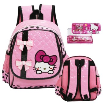 Onlan Tas Ransel Anak TK Bahan Anti Air Import Motif Hello Kitty + Kotak Pensil