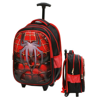 Onlan Tas Trolley Anak SD Import Karakter Anak Spiderman Super Hero 6D Timbul Soft Hard Cover