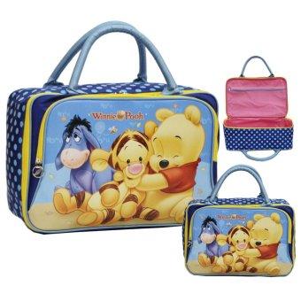Onlan Travel Bag Motif Karakter Anak Dua Kantung Kain Sponge Anti Air - Blue