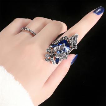 Korea Selatan berlebihan Butterfly SAPPHIRE Cincin perempuan Jepang Korea ornamen orang trendi jari telunjuk dekorasi cincin
