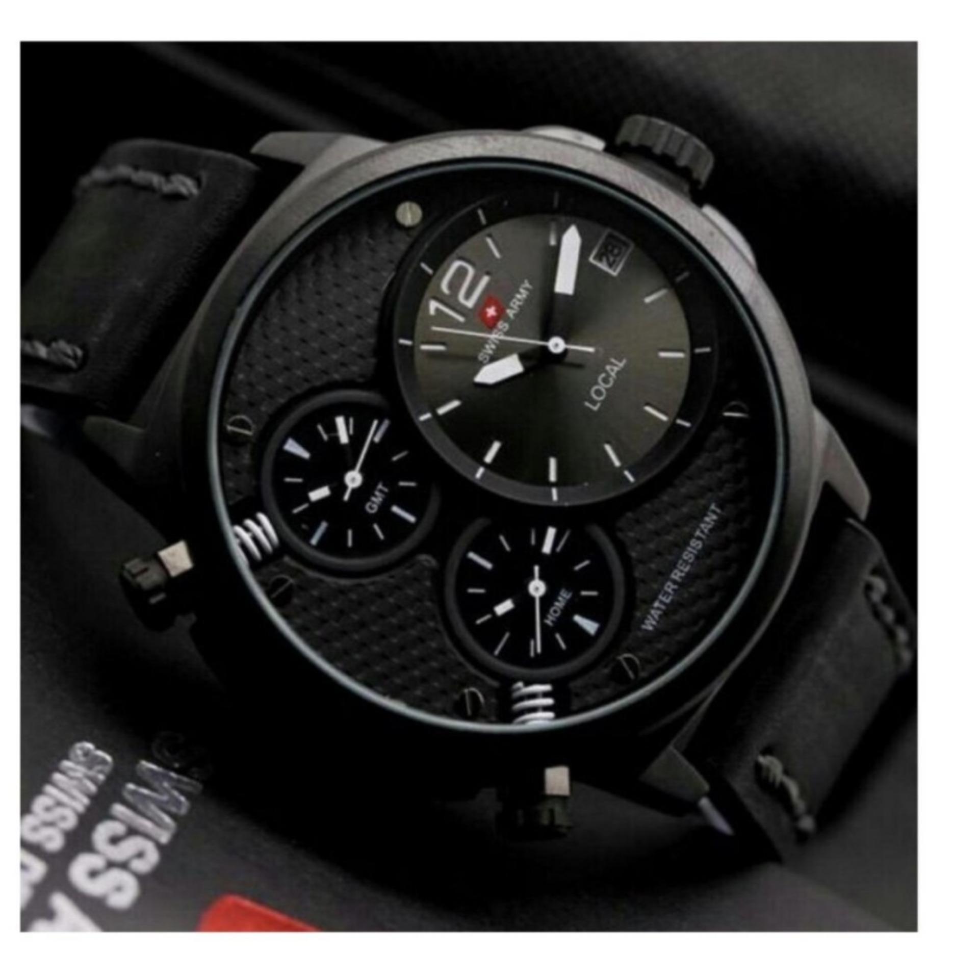 ... Shock Price Original Swiss Army Triple Time Tanggal Jam Tangan Pria Tali Kulit Leather