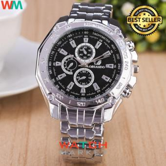 Orlando MW 018 - Jam Tangan Pria - Stainless Steel Band Quartz Watch With Tachymeter - Silver Hitam