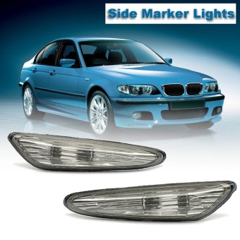 Pair Left Right Smoked Turn Indicator Side Marker Lights For BMW 3 5 X3 Series E46 E60 E61 E83 2000 2001 2002 2003 2004 2005 - intl