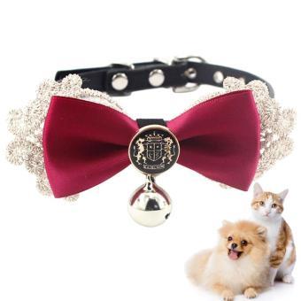 Peliharaan Bowtie Kerah Renda Dapat Disesuaikan Anjing Bowtie Kerah Kucing Bowtie dengan Lonceng-Internasional
