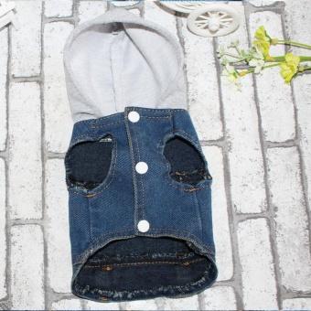 ... PET Dress Up Pakaian Pesta S-Intl. Source · Anjing Peliharaan Kucing Jaket Denim Personalized Jeans Rompi Rompi untuk Teddy dengan Topi-Internasional