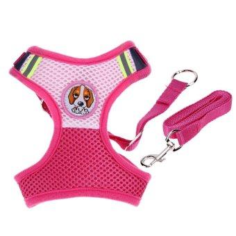 Anjing Peliharaan Puppy Leash Rompi Mesh Bernapas Bisa Disesuaikan Harness (Pink L)-Intl