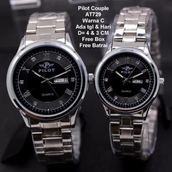 PILOT AT729 Jam Tangan Couple - Stainless Strap - Silver Gold