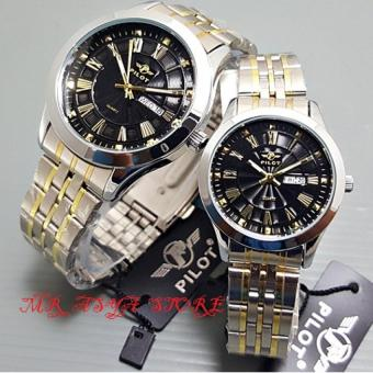 PILOT - Jam Tangan Pria dan Wanita - Body Silver - Black Dial - Stainless Steel Band - P5070MR Couple
