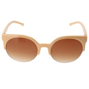 Plastik Trendy Hot Chic Setengah Bingkai Bulat Mata Kucing Sunglasses  (Tidak Ditentukan)-Satu 35a4489625
