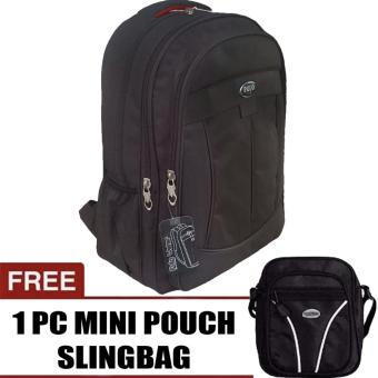PoloClub Decker Laptop Backpack with Raincover Up To 14 Inch + FREE Mini PoloClub Pouch Selempang