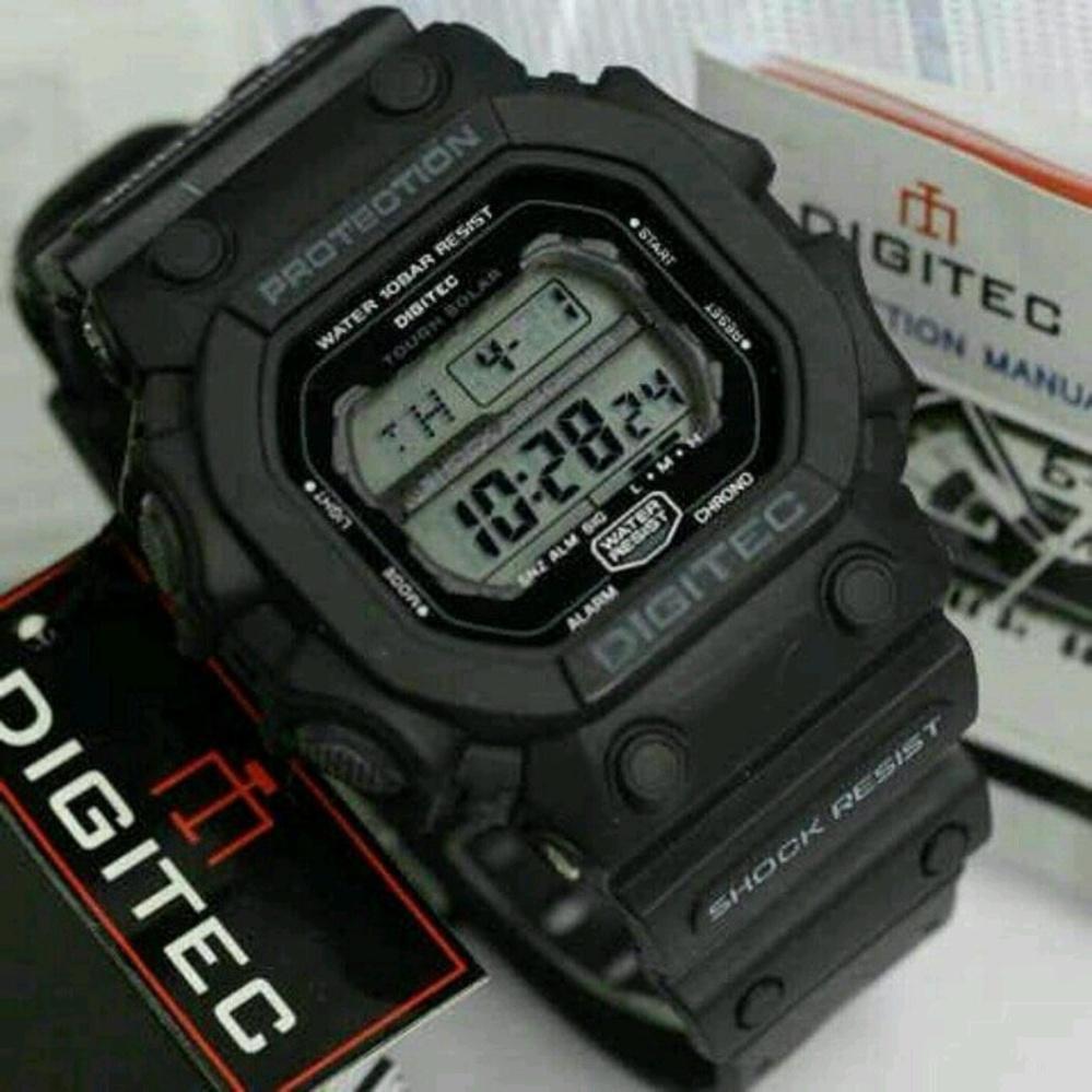 promo digitec monster dg-t original anti air – jam tangan pria sporty casual – black grey