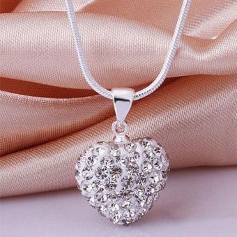 Pusat Fashion Kristal 925 Sterling Perak Liontin Perhiasan Rantai Kalung Ular