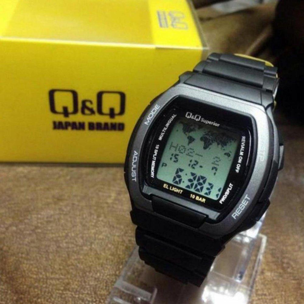 q&q jam tangan pria sporty – baterai – strap karet – 102y hitam