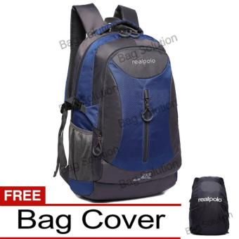 Real Polo Tas Ransel Kasual Jumbo 6332 Backpack XL Bonus Bag Cover- Biru