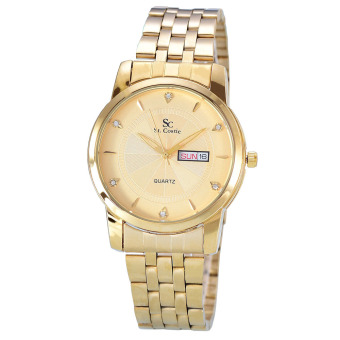 Saint Costie - Jam Tangan Pria - Body Gold - Gold Dial - Stainless steel band