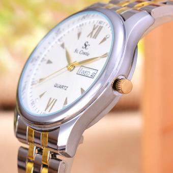 Saint Costie Jam Tangan Pria - Body Silver/Gold - White Dial .