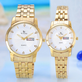 Saint Costie - Jam Tangan Pria&Wanita - Body Gold - White Dial - Stainless steel band