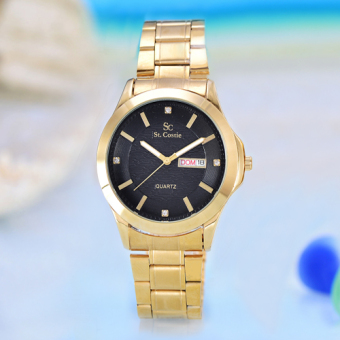 Saint Costie Original Brand - Jam Tangan Pria - Body Gold - Black Dial - Stainless