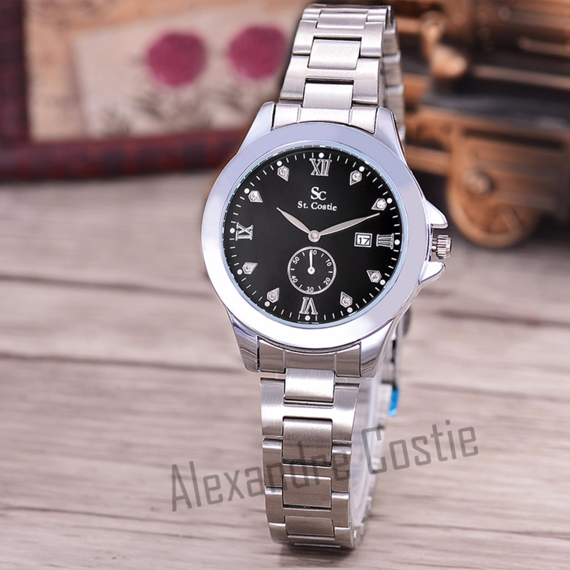 "Hot Deals ""Saint Costie Original Brand, Jam Tangan Wanita - Body Silver - Black"