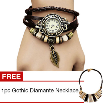 Santorini Jam Tangan Leather Strap Leaf Women Watch - Brown + Gratis 1pc Gothic Diamante Women Necklace