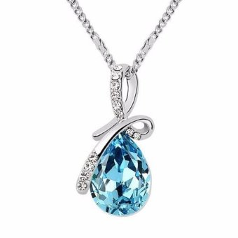 Santorini Wanita Liontin Kalung Fashion Silver Plated Crystal Pendant Women Jewelry Necklace - Blue