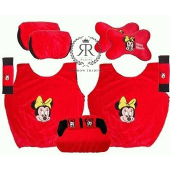 Sarung Jok Mobil Set Minnie 5 in 1/Bantal Jok Mobil Minnie Set 5 in 1