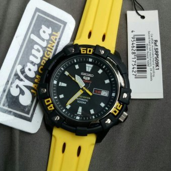 Seiko 5 Sports SRP509K1 Yellow Rubber Limited Edition - Jam Tangan Pria SRP509