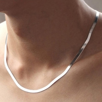 Silver Necklace Men's Short Clavicle Blade Chain Jewelry Flat Snake Bone Chain - intl