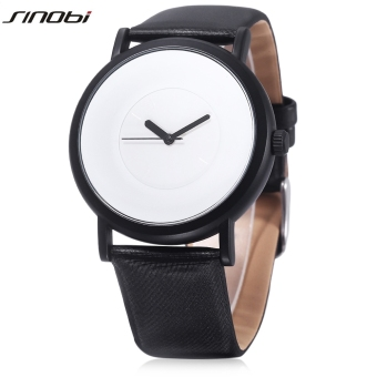 SINOBI S9372G Male Quartz Watch Nail Shape Scale 30m Water Resistance Leather Band Wristwatch (White) - intl